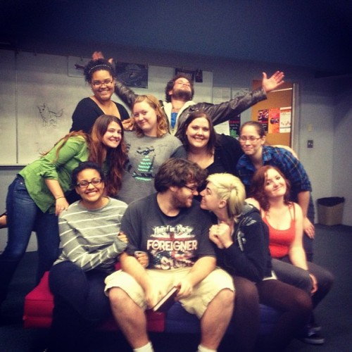theboiwithabrokensmile:  What a beautiful cast :) #thedoctorschair #theatre #shows #musical  Wow Taylor and I look like we're about to kiss.