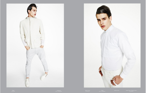 TUSH Spring-summer 2013 issue WHITE BOYS ALWAYS SHINE Photography Michael Schwartz. Styling David Gómez-Villamediana. Hair Danielle Priano at Art-Department. Make up Carolina Dalí at See Management. Left: Simon Van Meervenne wears Costume National jacket, 3.1 Phillip Lim sweater (worn underneath), Versace jeans and 3.1 Phillip Lim shoes.  Right: Simon Van Meervenne wears Givenchy shirt and trousers, Pola Thomson cropped shirt.