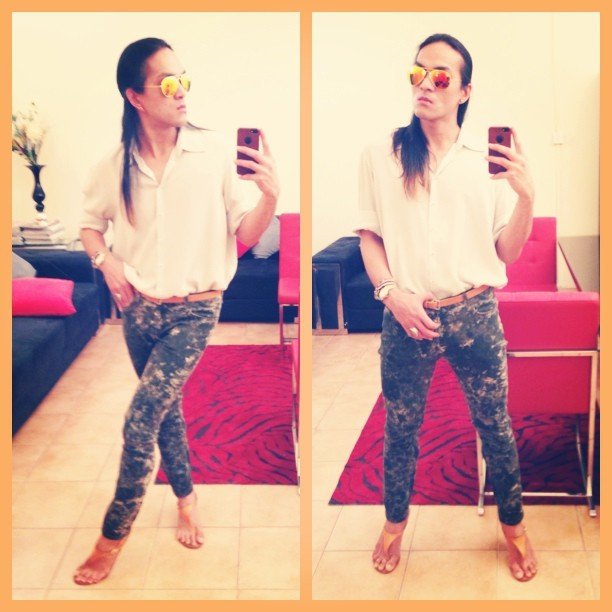 Tomboy Monday! #zara shirt, #HandM marble print skinnies, #dsquared belt and feet-thongs, #rayban sunnies.  #amsterdam #bahrain #fashion #monday #marble #print #green #love #look #lovelovelove #like #lookoftheday #summer #spring #gorgeous #goodmorning #happy #haveaniceday #myfavorites #new #ombrehair #philippines #workday