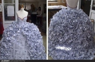 welive2laugh:  Dress made of divorce formsFollow this blog for the best new funny pictures every day