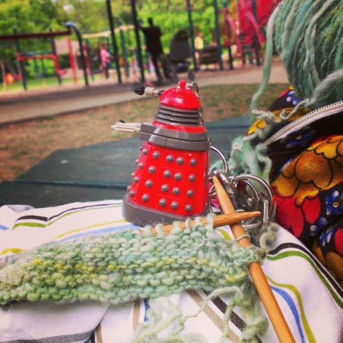Outdoor knitting in the shade at the park…. Only thing that could make this better would be….  (at Lakewood Park)