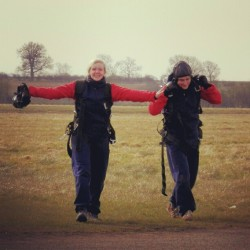 Today @benjaminwinton and I took part in a #SkyDive to raise money for advances in #Cancer treatments .. here's us celebrating our survival of the dive <3