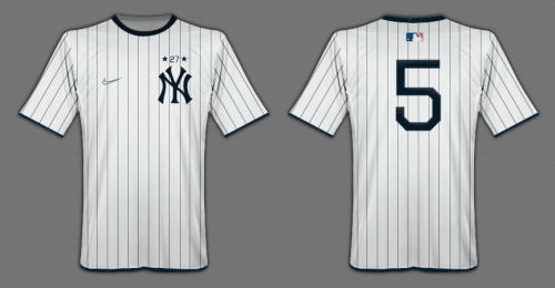 conceptualizing a yankees jersey as a soccer jersey, done by mark willis.