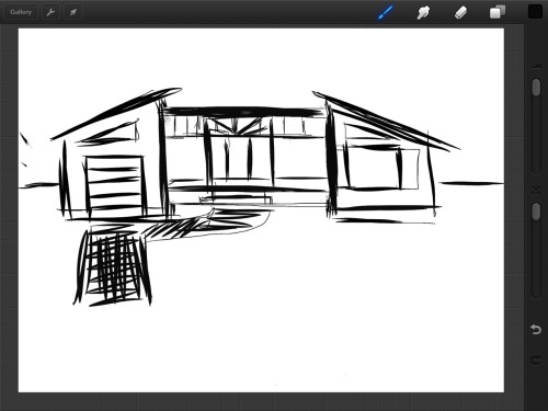Rough sketch of an addition & adjusting rooflines.