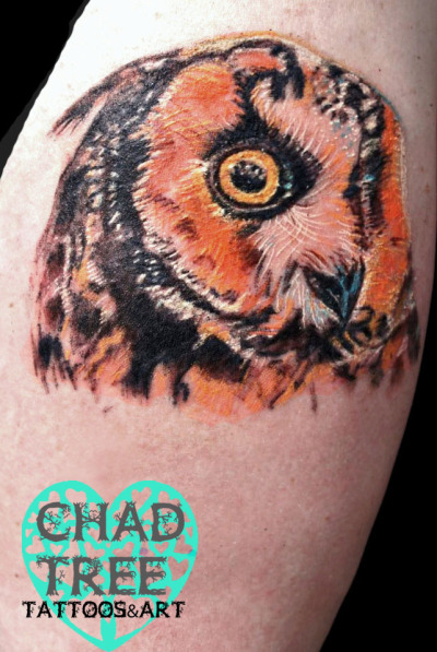 fuckyeahtattoos:  Owl Tattoo by Chad Tree @ Jerzey Tat SaddleBrook NJ