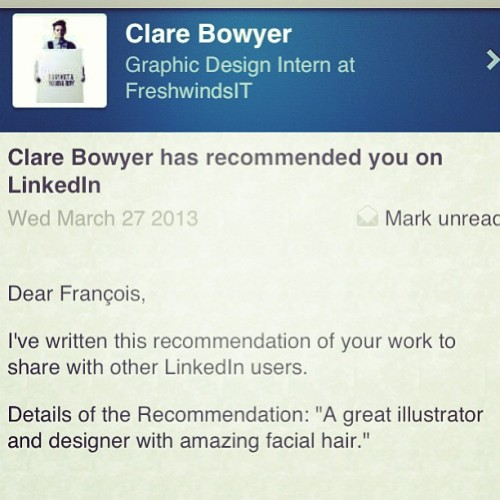 Got to love recommendations like this, haha cheers @clareoplane :p x #designer #illustrator