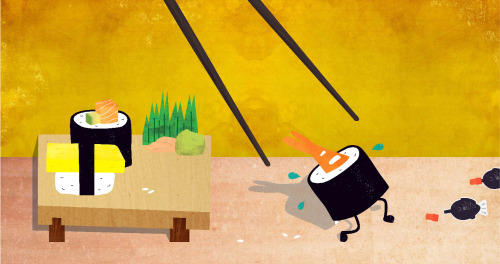 eatsleepdraw:  illustration for a sushi takeaway shop