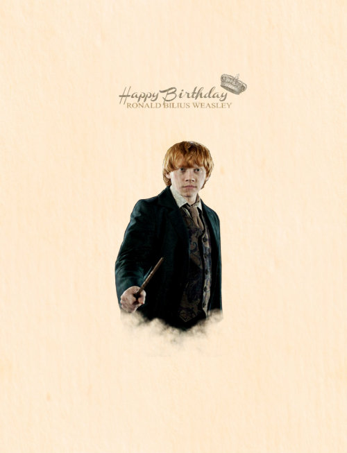 oswhin:   Weasley is our King!  Happy 33rd Birthday Ron! (1st March 2013)