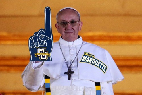 marquetteu:  Let's hope the new Jesuit pope puts in a good word for Marquette Men's Basketball on Selection Sunday. Read why Jesuit schools have a strong basketball tradition.Thanks Matt Hetrick for the photo illustration!  Kudos to the Pope's tailors who have been putting in work this past week.