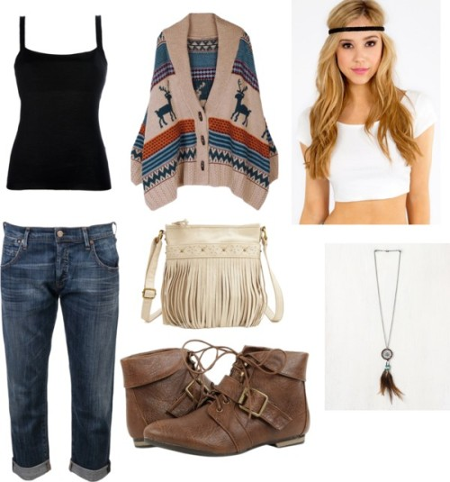 @Nohemao por nahomybieber con light brown boots ❤ liked on PolyvoreSingle breasted coat / Citizens of Humanity relaxed fit jeans / Light brown boots / Charlotte Russe  handbag / Free People  jewelry