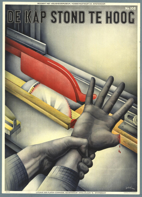 (via Vintage Safety - 50 Watts) 1940, poster by Drik de Leeuw via Memory of the Netherlands