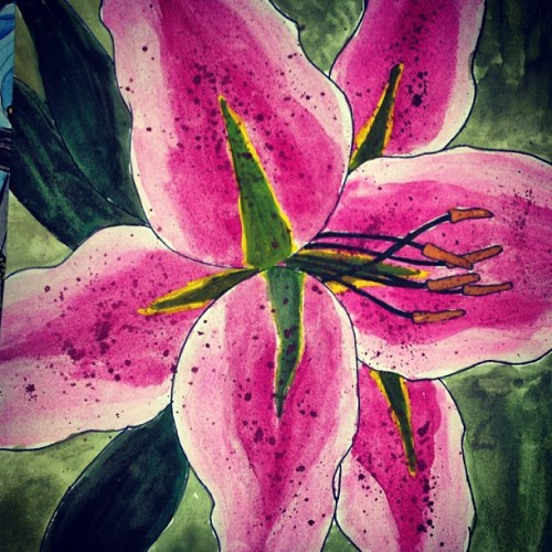 #found this #old #painting that I did #foreverago.  #watercolor #lily #flower #mywork #artwork #art #paint