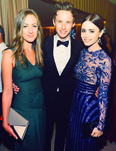 sirredmayne:  Lily Collins and Hannah Bagshawe with some guy at the Vanity Fair Oscars party