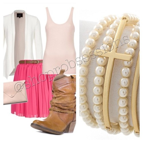 Next time your kicking it up with a skirt, have our Pearls & Cross Stack! Get it here 👉 shop.remarkableobsessions.com #shoprobsessions #ootd