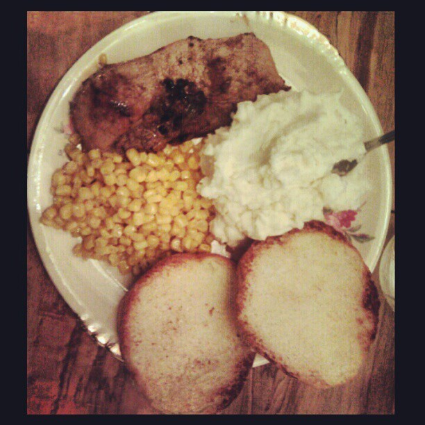#honey #garlic #glazed #porkchop #homemade #mashedpotatoes #sweet #corn and #dinnerrolls for #dinner  #madebyme and my #sister #delish #yum #food #newRecipe #heckahashtags