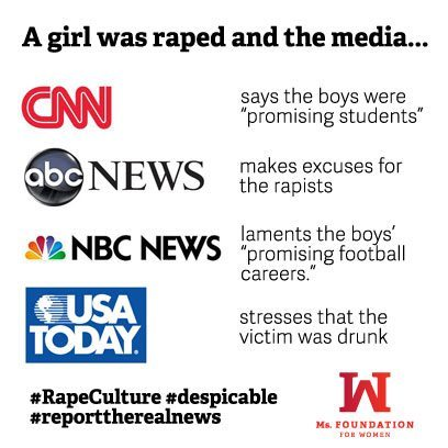 cutesynerd:   gradschoolswag:  This is what rape culture looks like.   I heard one station say it was a lesson in why not to post everything on facebook, because then it's out there.  So essentially, the lesson is if you're going to rape and humiliate a girl, don't post it on fb because then you might get caught.  I almost threw things at my tv.