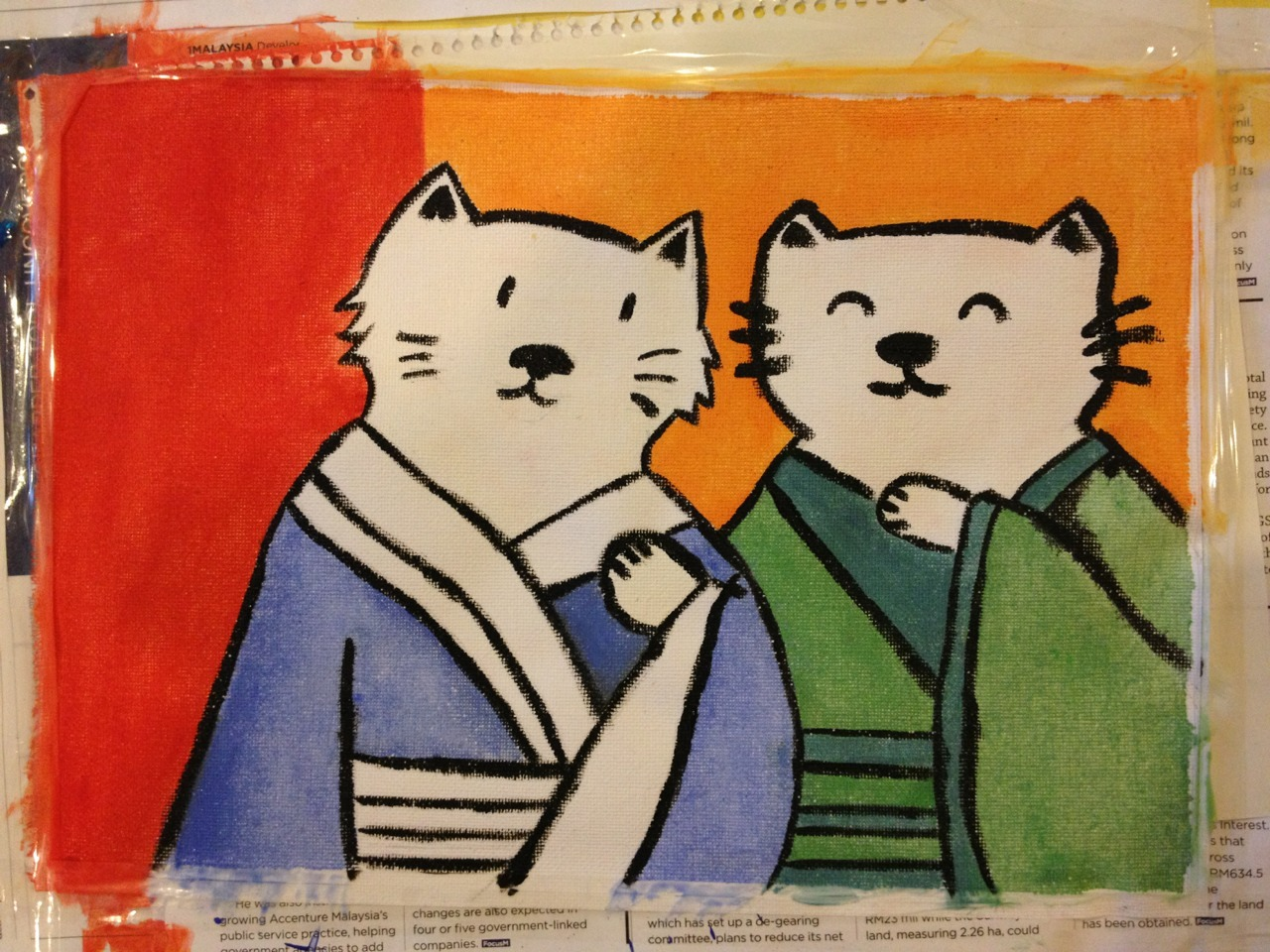 'Japanese Cats Gossip', Acrylic on canvas. It was a painful process, and strictly naive since I had no idea what to do with canvas (and actually had to tape it down halfway while painting, since I didn't know these things curled as you color!). The outlines has to be short and thick too with pitfalls along the way. But at the same time the process absorbed me so much. It made me think a great deal, and sometimes not at all. I've fallen in love with painting, I consider myself lucky to fall in love again ( after my husband). I used to worry that I have no teachers, no formal training. But I read somewhere that people struggle to find their 'innocence' or identity after art school, maybe this naïveté should be something I'm proud of. It doesn't matter. It is peaceful, all of it. Even the imperfections.