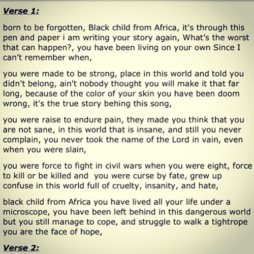 Black child from AFRICA ( Lyrics written by Lando)