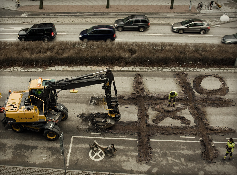 Erik Johansson - Roadworker's coffee break (2009)