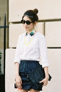 A twist on the classic white button down Shop this style on StyleSays.com