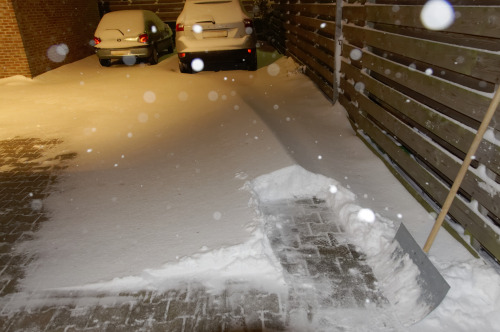 Snow + Wind = Heaps. 35cm in some places. It took me 2 hours to dig out the car.