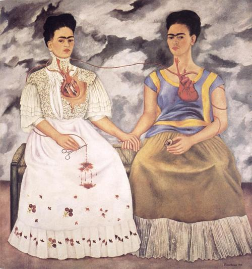 "aworldwithart:  ""The Two Fridas"" was created by Kahlo during her separation from her husband, Diego Rivera. It depicts kahlo's two diverse sides, her highly-cultural art-loving self and her empty refined self, attempting to stop the bleeding of her broken, heavy heart."