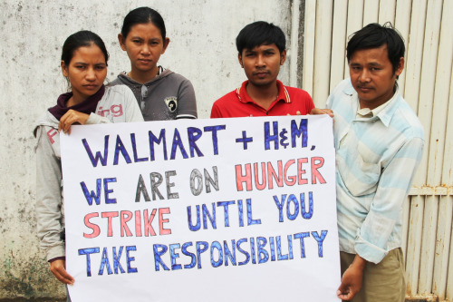 "thepeoplesrecord:  Cambodian workers on hunger strike against Walmart & H&MFebruary 28, 2013 Self-organized garment workers at a Walmart and H&M supplier factory in Phnom Penh, Cambodia, have been camping in front of their shuttered factory for almost two months to prevent their bosses from taking out the sewing machinery. Now the workers have escalated to blocking roads, and will launch a hunger strike February 27—all to push Walmart and H&M to pay them the back wages they are owed. Their cause is drawing support from workers at another Walmart subcontractor on the other side of the world. ""We decided to go on hunger strike to show that we not just any workers,"" said one of the leaders, Sorn Sothy, 26, who works in the warehousing part of the Cambodian factory. ""We are strong, committed, and united."" The workers were informed in September that their factory, Kingsland Garment Co., Ltd., would temporarily close until January. Under Cambodian labor law, they would be paid 50 percent of their wages during this time, and brought back to work in January. But in December, the paychecks stopped coming. The company union told the workers that the company was bankrupt and the owner had fled the country. The garment workers are owed around $200,000 collectively—less than what Walmart makes in profits every six minutes. Since their boss-run union wouldn't fight back, 200 workers organized themselves and began protesting outside the factory gates January 1. In the middle of the night January 3, they noticed company staff attempting to remove the sewing machines from the factory. ""We decided to start sleeping outside of the factory to prevent management from taking the machinery out,"" said Yorn Sok Leng, 30, who has worked at the factory for two years. With the help of a worker center, the Community Legal Education Centre (CLEC), the workers occupied the outside of the factory—setting up tarps, a sleeping area, and a kitchen. Source"