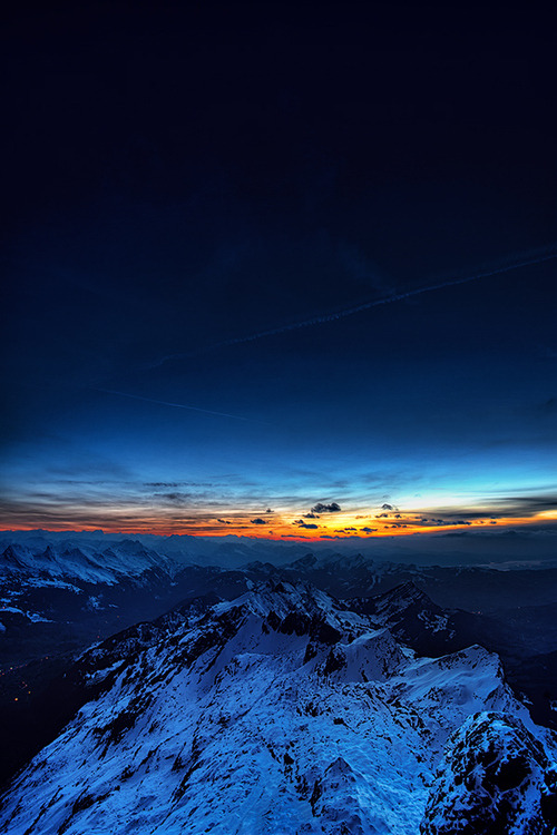 thekhooll:  Sunrise Seen while preparing for moonlight photography on top of Säntis mountain in Switzerland. By Kai Böhm