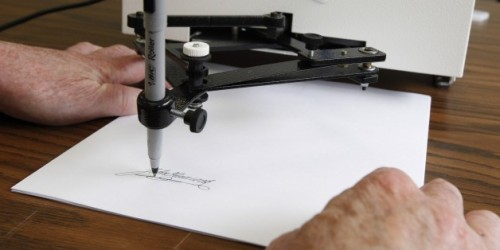 "When a Robot Signs a Bill: A Brief History of the Autopen    ""Although Bush set up the legal argument for autopen bill signing, he never used the device to enact legislation. Obama was the first to do so, signing an extension of the PATRIOT Act via autopen while in Europe. (Kind of fitting that a robot re-signed into law an act that represents the tenuous nature of technology, privacy, and the role of government.) Some lawmakers objected to the move, but no serious legal challenge to auto-signing bills has ever surfaced.""   (via new-aesthetic) That makes us think of…the human touch of a robot's hand."