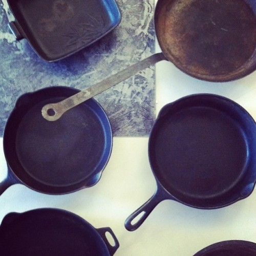 "We're crazy about cast-iron skillets! Behind the scenes at our cast-iron skillet photo shoot for our March 2013 ""Comfort Food"" issue!"