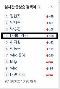 The Virus was No.4 in Naver's top searched keyword on 2nd March 2013, 1:20PM KST.