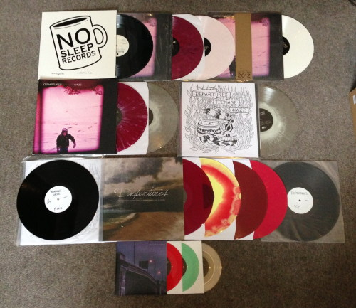 youthsbitterexile:  So this is a 100% complete Departures vinyl collection and what any collectors out there should be aiming for!  Departures - Teenage Haze - test pressing 17/20 (No Sleep Records) Departures - Teenage Haze - maroon /300 (No Sleep Records)     Departures - Teenage Haze - pink /500 (No Sleep Records)     Departures - Teenage Haze - white /200 (NSR Subscription Series) Departures - Teenage Haze - purple w/ white splatter /350 (FITA Records)     Departures - Teenage Haze - clear w/ white haze /100 (FITA Records) Departures - Teenage Haze - clear w/ white haze, preorder cover /50 (FITA Records) Departures - Teenage Haze - test pressing 1/15 (FITA Records)       Departures - When Losing Everything Is Everything You Wanted - purple /200 (1st press)     Departures - When Losing Everything Is Everything You Wanted - yellow/ red mix /100 (1st press) Departures - When Losing Everything Is Everything You Wanted - 'cherry cola' /200 (2nd press)     Departures - When Losing Everything Is Everything You Wanted - pink w/ orange splatter /100 (2nd press) Departures - When Losing Everything Is Everything You Wanted - test 1/15   Departures - Green Turns To Red, Then Turns To Gold - red /100     Departures - Green Turns To Red, Then Turns To Gold - green /150     Departures - Green Turns To Red, Then Turns To Gold - clear /250  <3