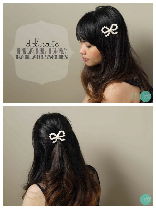 truebluemeandyou:  DIY Pearl Bead Hair Bow Tutorial from Minted Strawberry here. Really easy and cheap DIY. You can glue or wrap the bow on to a barrette or headband. For more DIY Headbands go here: truebluemeandyou.tumblr.com/tagged/headband and for more head pieces go here: truebluemeandyou.tumblr.com/tagged/headband