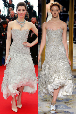Jessica Biel chose a taupe embroidered dress from Marchesa from the Fall 2012 collection at the premiere of Inside Lewyn Davis accessorized with a spectacular snake-shaped necklace.