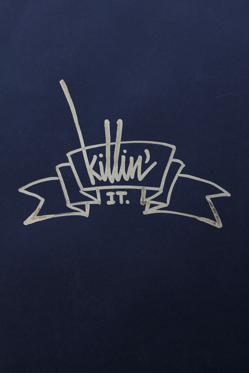 "its-a-living:  ""Killin' it.""Gold Sakura marker 2.0mm on black paperBy: it's a living ©"