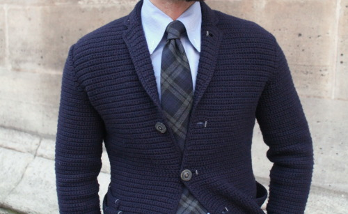 marcguyot:  aigleroyal:  Knit Jacket - SE' by Icho Nobutsugu Shirt - Marc Guyot Tartan Tie - Marshall Anthony  Buttondown.
