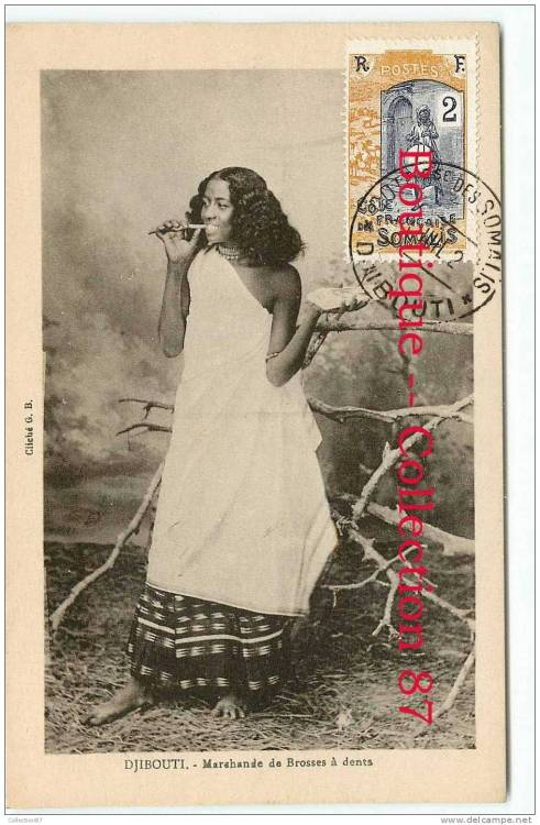 Vintage colonial postcard of a woman from Djibouti.