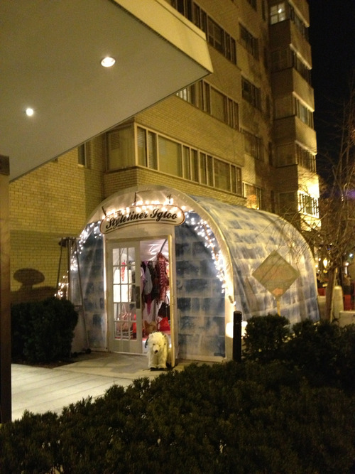 The Styleliner Igloo Bar Dupont, Washington DC  Ever since we had a little test run with our Styleliner Igloo almost a year ago at Sundance, we have been dying for another go at it. Round 2, happening now, is in Washington DC, on the patio of Bar Dupont at the Dupont Circle Hotel. It is a Styleliner pop-up igloo that will exist for 2 more weeks, until Christmas Eve 2012. The igloo feels similar to the truck inside with a little more space and a slightly lower price point, it's very gifty! Soooo deem yourself an Eskimo for a few hours, warm yourself with the most delicious hot coco, and get some sweet new bling for those you love this holiday season…or…dare we say it, for yourself.