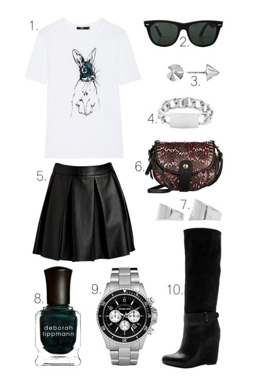 what-do-i-wear:  1. Markus Lupfer Sequin Bunny Tee (or here)2. Ray-Ban Outsiders Oversized Wayfarer Sunglasses3. Bing Bang Silver Vivienne Stud Earrings4. Nicholas ID Bracelet5. Jérôme Dreyfuss Momo Mini Bag6. ONE by Boundary Vegan Imitation Leather Skirt7. Maison Martin Margiela Set of 2 Rings in Silver8. Deborah Lippmann Nail Polish in 'Don't Tell Mama'9. Michael Kors Men's Madison Watch10. Vince Greta Wedge Boots (image: lefashionimage)