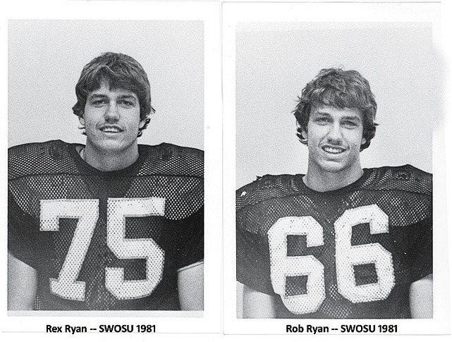 Southwestern Oklahoma State University football players Rex and Rob Ryan pose during a 1981 photo shoot. (Courtesy of Southwestern Oklahoma State University)
