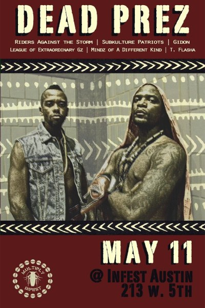 Gz, come catch us performing tonight with hip hop revolutionaries Dead Prez at Infest. #LEAGUESHITTix: http://ticketf.ly/18BhW8i