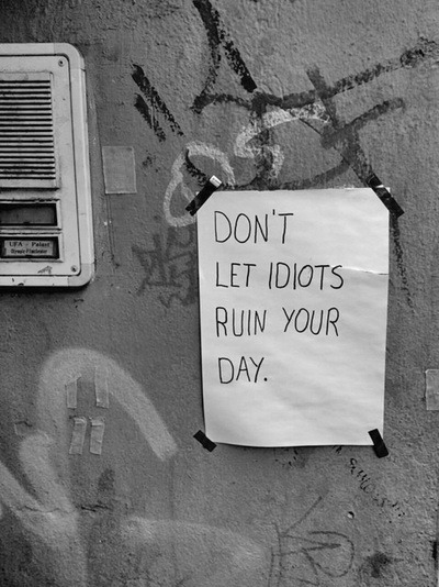Don't let idiots ruin your day.