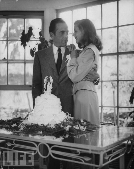 Happy Anniversary!!! Humphrey Bogart and Lauren Bacall on their wedding day, 21 May 1945