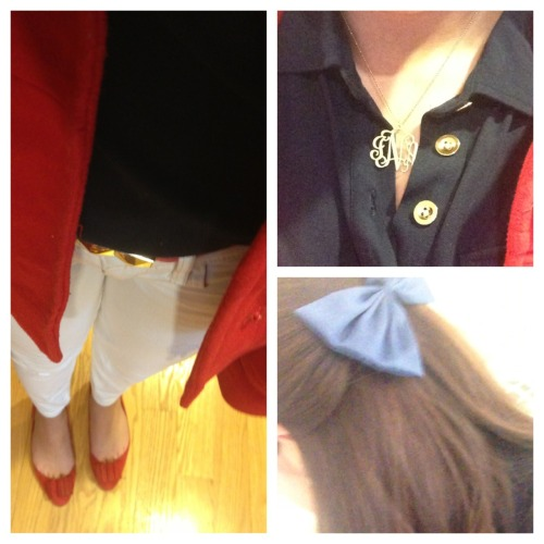 Ootd!  White denim, red flats, navy blue polo with gold buttons , reddish pink belt with gold detailing, red peacoat, navy blue bow, monogrammed necklace 🎀