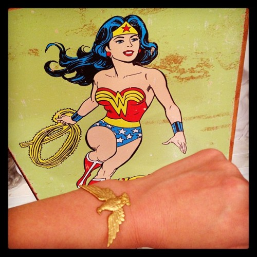 The abundance of Wonder Woman in my studio is affecting my designs again…future bracelet…hells yeah! (at Manic Trout Studio, Austin TX)