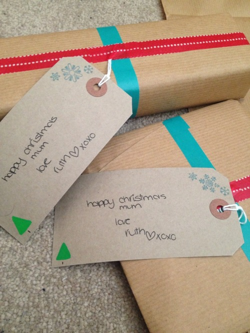 Christmas presents wrapped.