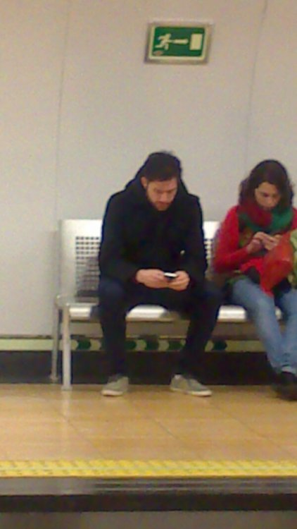 Xabi taking the underground in Madrid