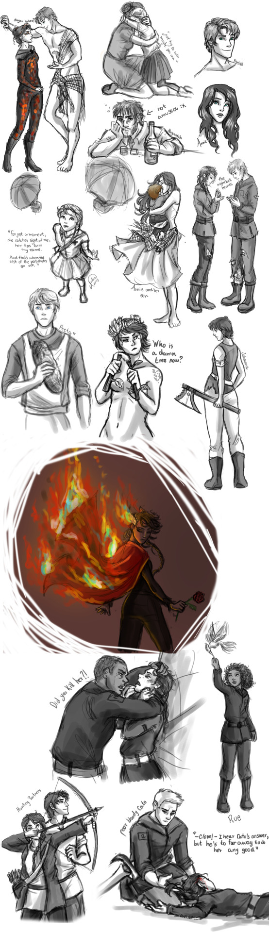 "whiskeysnarker:  The Hunger Games Sketch Dump by ~juliajm15 These are all great, but I particularly love the Scruffy Unamused (and he's Seam dark, THANK YOU!) Haymitch, the ""Fuck Your Tree Costume"" Johanna, and the Johanna+Axe BFFs ones.  :D   Great art, and they look a lot like Haymitch and Johanna in my mind."