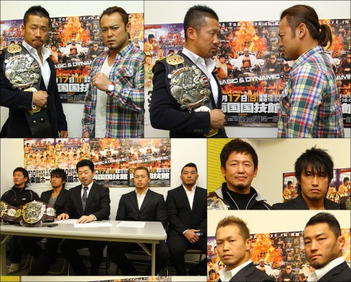 "[All Japan News] AJP held a press conference to announce two new title matches that have been added to the Ryogoku show on March 17, as well as the additions this will make to the upcoming show March 10.Burning made their first real statement since returning to All Japan when Yoshinobu Kanemaru defeated Shuji Kondo to become the new World Junior Heavyweight Champion. Kaz Hayashi took no time in challenging the new champion and today All Japan announced that the title match will be official for the 3.17 show. The President of All Japan, Masayuki Uchida, has placed his faith in Kaz Hayashi to stop the momentum of the invading Burning team. Masayuki Uchida noted the 3-2 win from Burning on February 23rd and is very disappointed by it, but All Japan will have to move forward.Kanemaru stated that his goal is to claim his first true defense against Hayashi who holds the record for the most defenses of the belt at 17. Kanemaru aims for nothing but a total victory with his return to All Japan.Kaz Hayashi picked up the win over Kotaro Suzuki on February 23rd and has placed himself in the position to be All Japan's top junior. Hayashi's complete focus is now set on Kanemaru and he aims to reclaim the belt.Hayashi and Kanemaru will meet in a 6 Man Tag Double title prelude match on 3.10 as Takao Omori, Manabu Soya & Kaz Hayashi take on Jun Akiyama, Go Shiozaki & Yoshinobu Kanemaru.The Asia Tag belts were also announced to be on the line as ""Junior Stars"" will be defending against Kotaro Suzuki & Atsushi Aoki from Burning. All four wrestlers were on hand for the press conference.Kanemoto mentioned that he is officially a freelance competitor, after not signing a contract with NJPW in January. He though does not want to be seen as an invader to All Japan, much like Burning, as he says his love and spirit currently resides with Junior Stars and All Japan Pro-Wrestling. Kanemoto has competed for All Japan for over the last year and has more or less become a regular with them. Minoru Tanaka noted that this is a time for frustration, but also a time for himself and Kanemoto to feel refreshed with reclaiming the Asia Tag belts.Kotaro Suzuki suffered the first loss from the Burning side on the 2.23 show, and he hopes to not make that same mistake twice, let alone at Korakuen Hall this soon.Atsushi Aoki mentioned that he wants to be the #1 Junior in Japan with the first step being the Asia Tag belts. Aoki plans to go with all his power and abilities to build towards his future goals.With the 2 new title matches announced for the March 17 show, the first Korakuen Hall show on March 10 has also been updated to build towards it all.The four men involved in the Asia Tag match will face off in singles action on 3.10 as Minoru Tanaka goes up against Kotaro Suzuki and Koji Kanemoto takes on Atsushi Aoki.It is all about momentum heading into the Ryogoku show and there is definitely no sign of anything less than heat as we head into March. All Japan Pro-Wrestling ""HOLD OUT TOUR 2013"", 3/10/2013 [Sun] 12:00 @ Korakuen Hall in Tokyo (-) Asia Tag Prelude All Japan vs. Burning Single Match: Koji Kanemoto vs. Atsushi Aoki (-) Asia Tag Prelude All Japan vs. Burning Single Match: Minoru Tanaka vs. Kotaro Suzuki (-) World Tag & World Junior Double Prelude All Japan vs. Burning 6 Man Tag Match: Takao Omori, Manabu Soya & Kaz Hayashi vs. Jun Akiyama, Go Shiozaki & Yoshinobu Kanemaru (-) Triple Crown Prelude No Fall Match: Masakatsu Funaki & Akebono vs. Suwama & Joe Doering~ Match can only be decided by KO or Submission only. (-) GAORA TV Championship Match: [1st Champion] Seiya Sanada vs. [Challenger] Masayuki Kono~ 4th Defense. All Japan Pro-Wrestling ""2013 Pro Wrestling LOVE in Ryogoku ~BASIC & DYNAMIC~"", 3/17/2013 [Sun] 17:00 @ Ryogoku Kokugikan in Tokyo (-) Asia Tag Championship Match: [91st Champions] Minoru Tanaka & Koji Kanemoto vs. [Challengers] Kotaro Suzuki & Atsushi Aoki~ first defense. (-) World Junior Heavyweight Championship Match: [35th Champion] Yoshinobu Kanemaru vs. [Challenger] Kaz Hayashi~ first defense. (-) KAI's Return Special Single Match: Seiya Sanada vs. KAI (-) Special Tag Match: Keiji Mutoh & Don Frye vs. Yoshihiro Takayama & Masayuki Kono (-) World Tag Championship Match: [64th Champions] ""GET WILD"" Takao Omori & Manabu Soya vs. [Challengers] ""BURNING"" Jun Akiyama & Go Shiozaki~ 3rd Defense. (-) Triple Crown Heavyweight Championship Match: [45th Champion] Masakatsu Funaki vs. [Challenger] Suwama~ 5th Defense.All Japan Event Cards for March & April 2013http://www.puroresuspirit.com/2013/02/25/all-japan-event-cards-for-march-april-2013/"