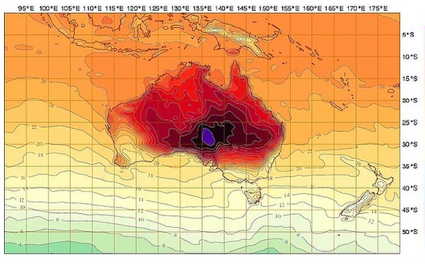 Australia's Bureau of Meteorology adds a new color to their weather maps to account for record-breaking temperatures in the country - Via The Atlantic Wire